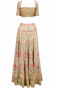 Champagne floral threadwork lehenga set available only at Pernia's Pop-Up Shop.
