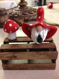 Pickle Hollow Red Mushroom Gnome and his by Whimsybydesign1, $10.00