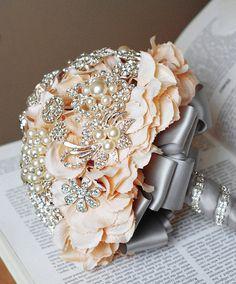 Vintage Bridal Brooch Bouquet Wedding Cake Topper - Pearl Rhinestone Crystal - Silver Peach Grey - 55% off - CT001LX