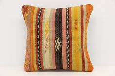 Vintage Kilim pillow cover 12 x 12 Kilim Pouf Wool Pillow Cover Natural Dye Desinger Pillow Embroidered Pillow Oriental Pillow S-427 by kilimwarehouse on Etsy