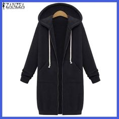 Oversized 2017 Autumn ZANZEA Women Casual Long Hoodies Sweatshirt Coat Pockets Zip Up Outerwear Hooded Jacket Plus Size Tops