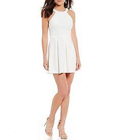 4d6510dce B. Darlin High Neck Lace Bodice Pleated Skater Dress Junior Dresses, Lace  Bodice,