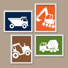 CONSTRUCTION Wall Art, CANVAS or Prints Trucks Pictures, Baby BOY Nursery Decor, Transportation Theme Bedroom, Tractor Dump Truck Set of 4 by TRMdesign on Etsy https://www.etsy.com/listing/231696143/construction-wall-art-canvas-or-prints