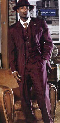 Stacy Adams Mens Wine Heather Mike Vested High Fashion Suit 3225-075