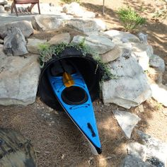 Kayak storage tunnel - ha ha! but ingenious