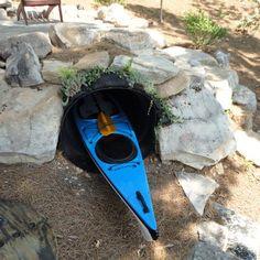 Kayak storage tunnel - ha ha! but ingenious