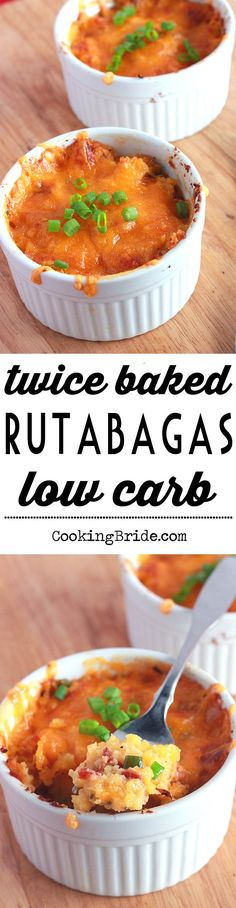 Twice baked mashed rutabaga recipe is a tasty, low carb alternative to mashed potatoes.
