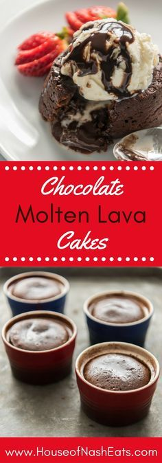 These rich, delicious Chocolate Molten Lava Cakes are sort of like a cross between a soufflé and a flourless chocolate cake, except way easier. They have a deep chocolate flavor with a molten, liquid inside that oozes out once you cut into each individually plated cake.