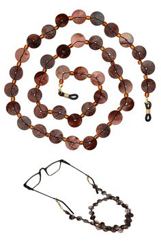Never lose your glasses again! Sandy Brown Beaded Shell Eyeglass Chain…