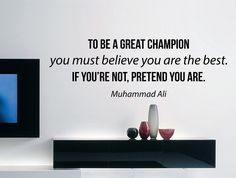"Muhammad Ali Quote Inspirational Motivational Wall Decal Home Décor ""To Be a Great Champion"" 42x14 Inches"