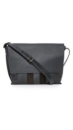 Bally Men's Bichel Messenger Bag, Charcoal, One Size
