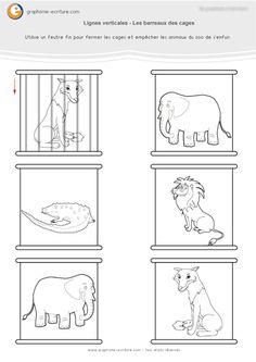 Graphisme MS Lignes verticales : Compléter les barreaux des cages