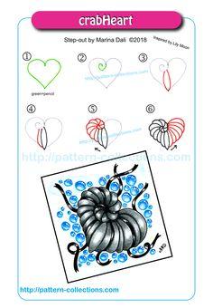 crabHeart by Marina Dali Zentangle Drawings, Doodles Zentangles, Doodle Drawings, Easy Drawings, Doodle Art, Zen Doodle Patterns, Zentangle Patterns, Tangle Doodle, Tangle Art