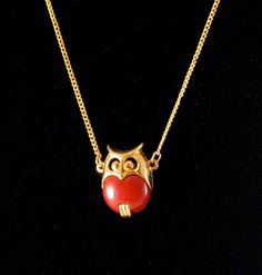 Vintage Rare Small Red and Gold Small Owl by ErikasCollectibles, $49.00