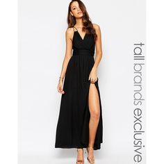 True Decadence Tall Wrap Front Maxi Dress (4,665 PHP) ❤ liked on Polyvore featuring dresses, black, tie back maxi dress, wrap dress, black maxi dress, empire maxi dress and v neck maxi dress