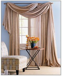 Awesome Window Treatment Ideas and Curtain Designs Photos - View our collection of designer window treatments as well as personalized window treatments for your home. From ranch shutters to simple DIY drapes, find ideas for upgrading your decoration. Curtains Living, Hanging Curtains, Drapes Curtains, Scarf Curtains, Gypsy Curtains, Bedroom Drapes, Layered Curtains, Valances, Master Bedrooms
