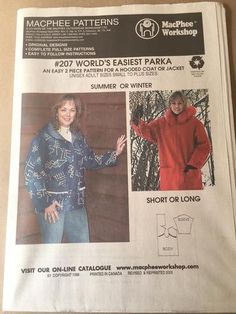 Super quick 2 piece pattern length with patch pocket, drop sleeve, hood Zip front Great in wools and Yukon Fleece Make it into a hooded vest by leaving off the sleeves Sewing Hacks, Sewing Tips, Winter Shorts, Hooded Vest, Plus Size Summer, Learn To Sew, Buttonholes, Vest Jacket, As You Like