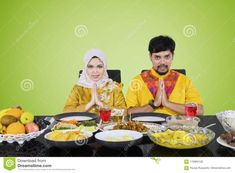 Young Couple Greeting For Happy Break The Fast Stock Photo - Image of fruit, clothes: 115994138