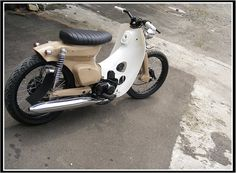 Real cool and nicely customized Moped Bike, Honda Bikes, Motorcycle Bike, Custom Moped, Custom Bikes, Scooters, Vintage Moped, Honda Cub, Bobber Chopper