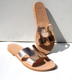 Helios Sandals,H style sandals,Hermes style,Greek Handmade sandals,slide sandals,rose gold leather,Greek leather,Ancient Greek,Island sandal H Style, Ancient Greek, Gold Leather, Handmade Leather, Slide Sandals, Leather Sandals, Hermes, Trending Outfits, Unique Jewelry