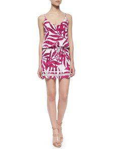 Palm-Print Tie-Waist Dress, Pink - Townsen