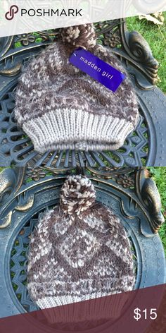 NWT Madden Girl Brown Knit Beanie Hat NWT Madden Girl brown beanie hat with ball on top. One size. Madden Girl Accessories Hats