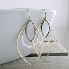 Bohemian Chic Earrings Gold Silver And Black Earrings Statement Earrings Modern Earrings Handmade Jewelry Gold Earrings Gift For Her