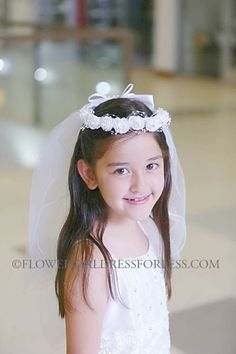 Communion Veil- Style VL8209 Floral and Bead Headpiece Adorned with Veil $23.99
