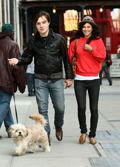 Ed Westwick and Jessica Szohr  No gossip here. Westwick and Szohr have some fun-filled puppy time.