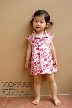 PDF Pattern - Hannah Dress for 12M - 5T and tutorial