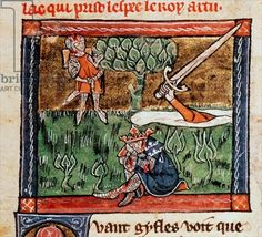 Griflet returns Excalibur to the lake at the death of King Arthur, from manuscript of the Roman de Saint Graal, c.1316 (In English versions Bedivere throws the sword, but in the French versions it's Griflet.)