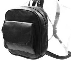 BLACK SMALL LEATHER BACKPACK SHOULDER BAG PURSE TRAVEL ORGANIZER F109 #BackpackStyle