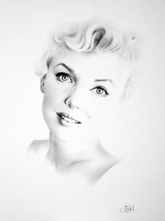 Marilyn Monroe Minimalism Pencil Drawing Fine Art Portrait Classic Hollywood Vintage Glamour Beauty Archival Print HAND SIGNED