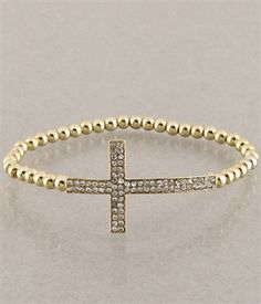 $18 Dainty Diamond Cross Bead Stretch Bracelet - Gold