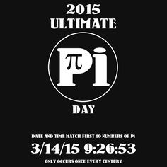 Pi Day 2015 -- Once in a Century by Samuel Sheats on Redbubble. Apparel and merchandise in celebration of the special Pi day occurring on March 14, 2015. At 9:26:53 am, the date and time will match the first 10 digits of Pi. This only happens once every century.Available as T-Shirts & Hoodies, iPhone Cases, Samsung Galaxy Cases, Home Decors, Tote Bags, Prints, Cards, Kids Clothes, iPad Cases, and Laptop Skins. #pi #piday #science #math #geek #nerd