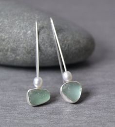 Sea Glass Earrings With Pearls, English Sea Glass, Sea Foam Green Color, Dangle Design, Fine Silver, Elegant Sea Glass Earrings