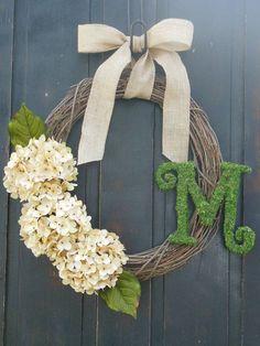 Moss monogram wreath, Moss Wreaths, Burlap Wreath, Country Wreath, Front Door Wreaths, Monogram decor, Hydrangea Wreaths on Etsy, $48.00 by shelley
