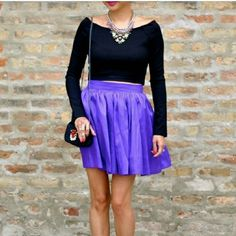 T+J Designs Purple Shirred Skirt NEW item alert. Very chic piece to add to your wardrobe. Can be worn with a cute top and nice heel.  Material: 100% Polyester T&J Designs Skirts Mini