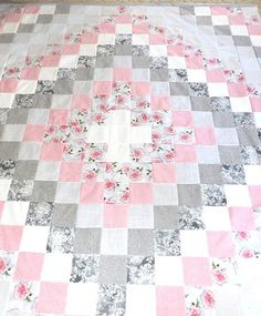 This is a quilt top in a soft Pink, Grey and White Trip Around the World Design All fabric has been pre washed before cutting This is a quilt top... the batting and backing to be added by...@ artfire