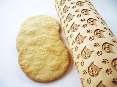 CATS pattern Embossing Rolling Pin. Engraved rolling pin with Cats for embossed cookies or pasta