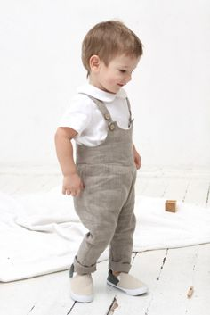 Baby boy linen romper Baby boy dungarees Overall Baby by mimiikids