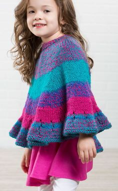 Free Knitting Pattern for Sweet Tooth Poncho - This poncho is knit in one piece from the top down with a ruffled hem. Sizes 2-4 yrs (6-8) yrs. Designed by Premier Yarns. Perfect for gradient yarn.
