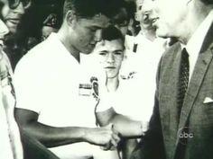 In 1963, a teenage Bill Clinton meets President John F. Kennedy (actual video footage).