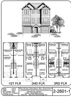 Traditional Style Duplex  Building Designs By Stockton: Plan # 2 2601 1