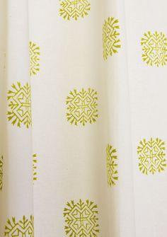 Designer Fabric Shower Curtains - Sage Green Shower Curtain - Hand Block Printed from Attiser