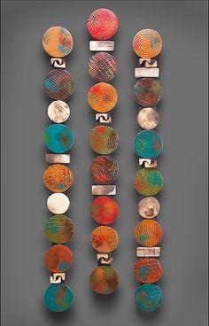 Circle Stick in Teals and Red: Rhonda Cearlock: Ceramic Wall Art | Artful Home