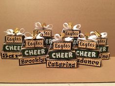This is an example of a squad order for a cheerleader squad, sport team, etc. Each block set consists of three blocks, the longest of which is approximately 5. For this order, one set is Freshman, one set JV, one set Varsity, and one set for Varsity seniors made in the colors of the Cheer Coach Gifts, Cheer Coaches, Cheerleading Gifts, Softball Gifts, Gifts For Cheerleaders, Basketball Gifts, Sports Gifts, Sports Basketball, Kids Sports