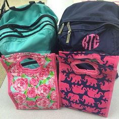 L.L. Bean backpacks and Lilly Pulitzer lunch totes