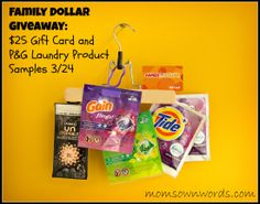Family Dollar $25 Gift Card and P&G Laundry Products Prize Pack Giveaway 3/24 - Moms Own Words