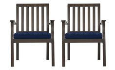 Set of 2 Dining Chairs with Sunbrella® Cushions